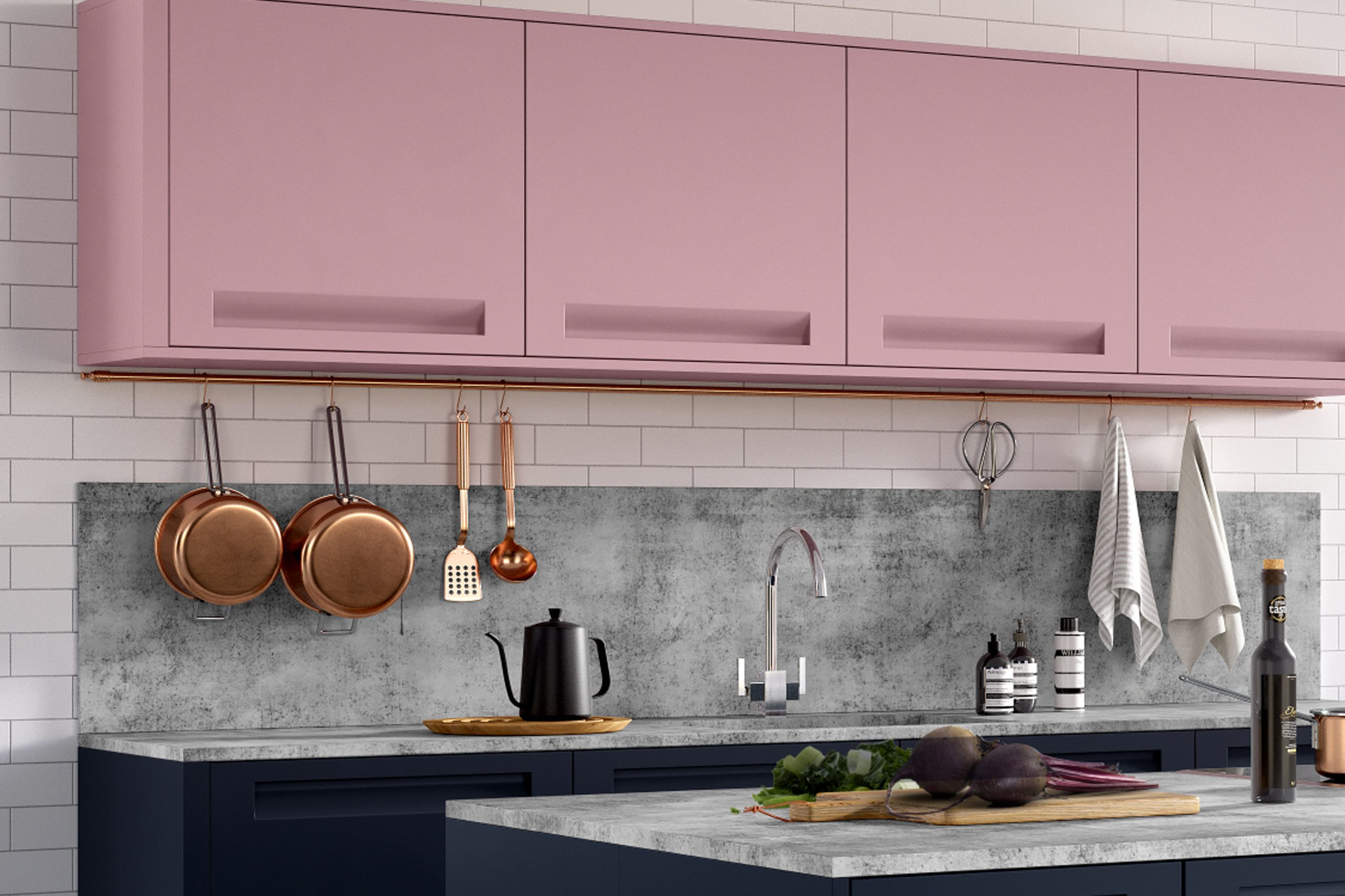 Traditional Kitchen with Pink Finish