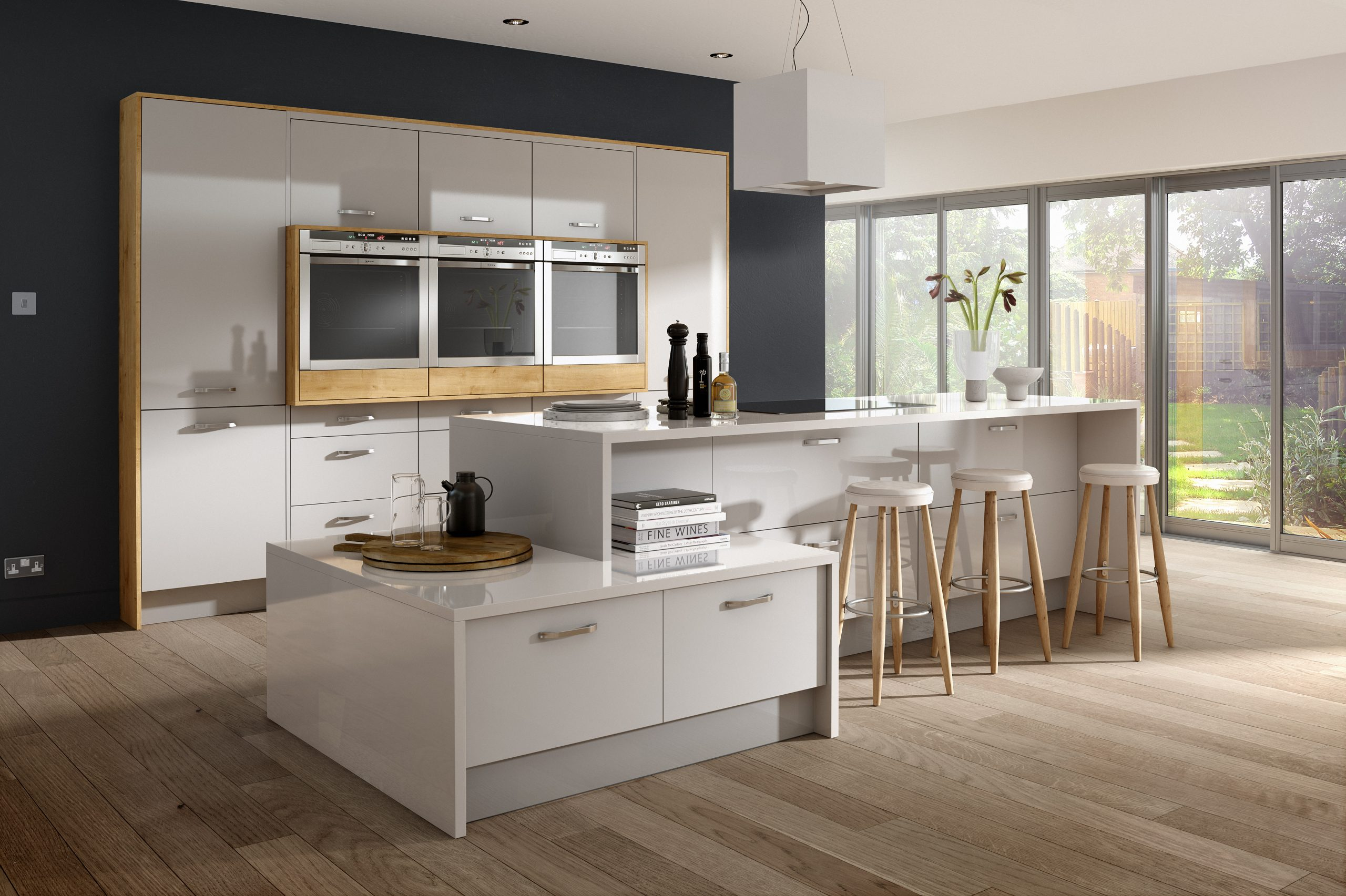 Kitchen with grey gloss finish