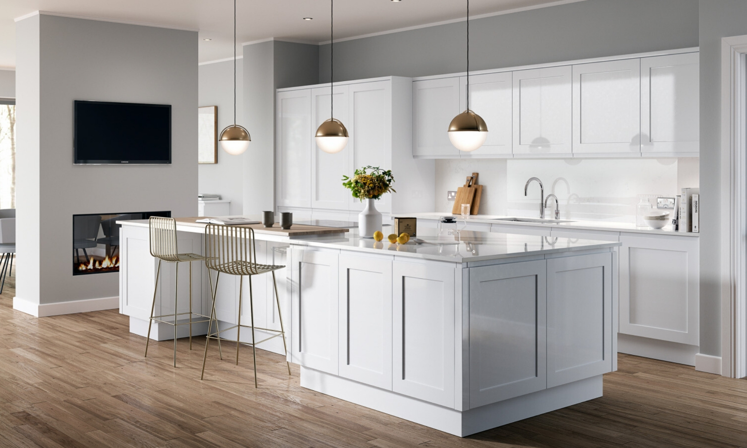contemporary white kitchen surrey