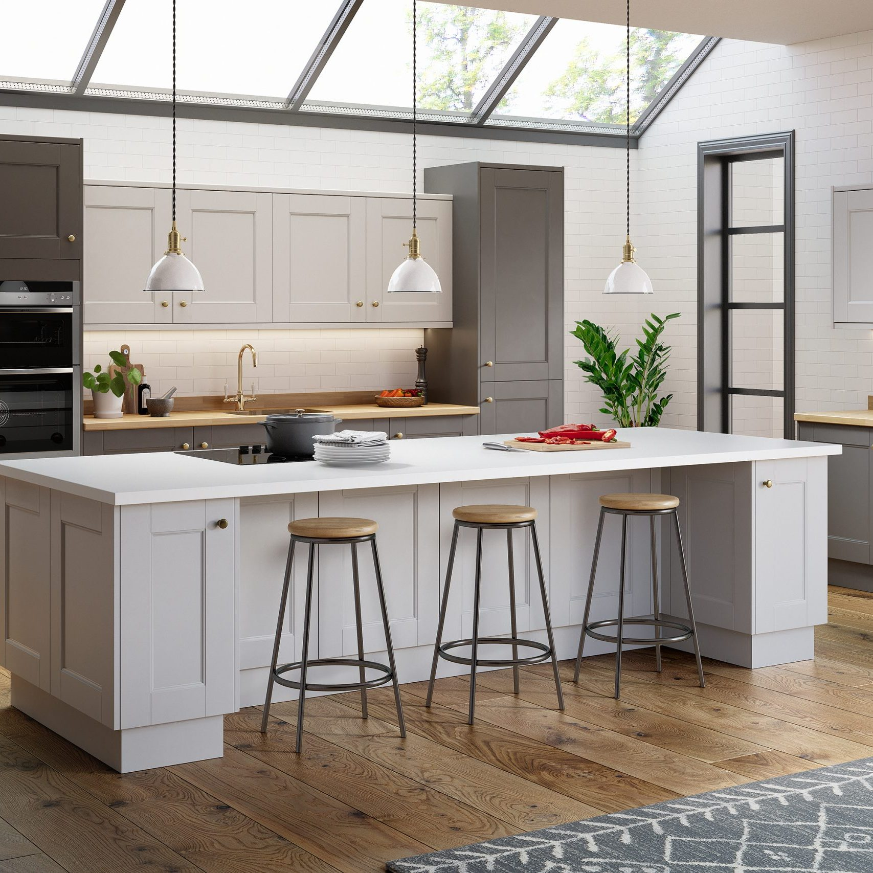 Kitchen with oakwood flooring