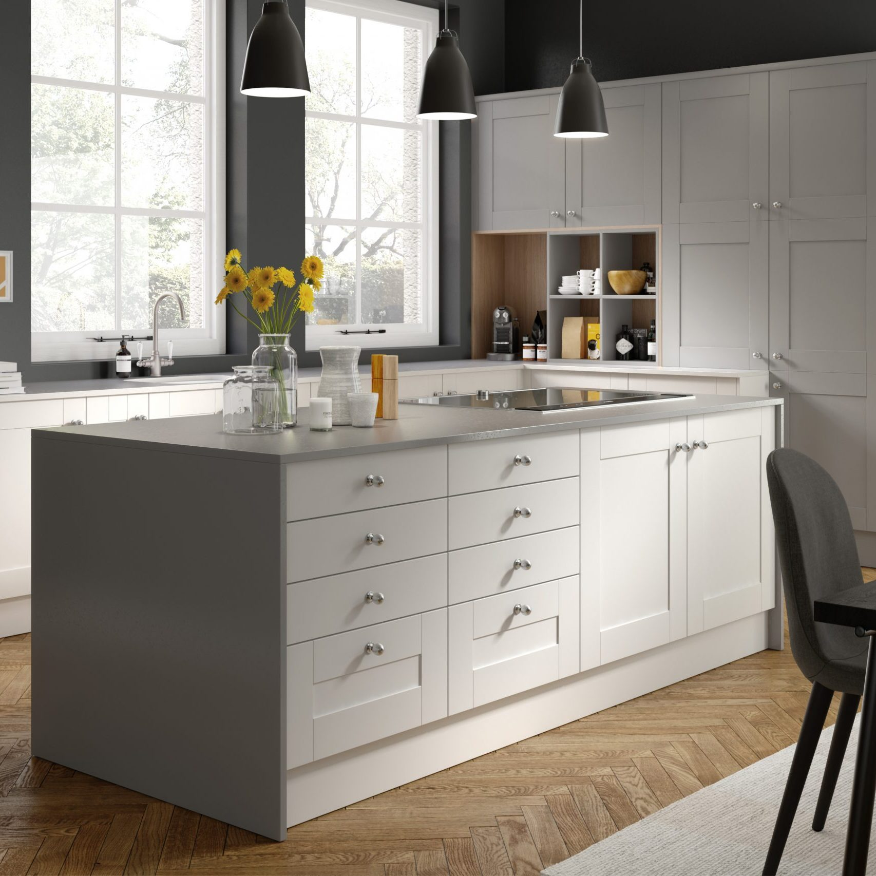 Monochrome colour scheme kitchen