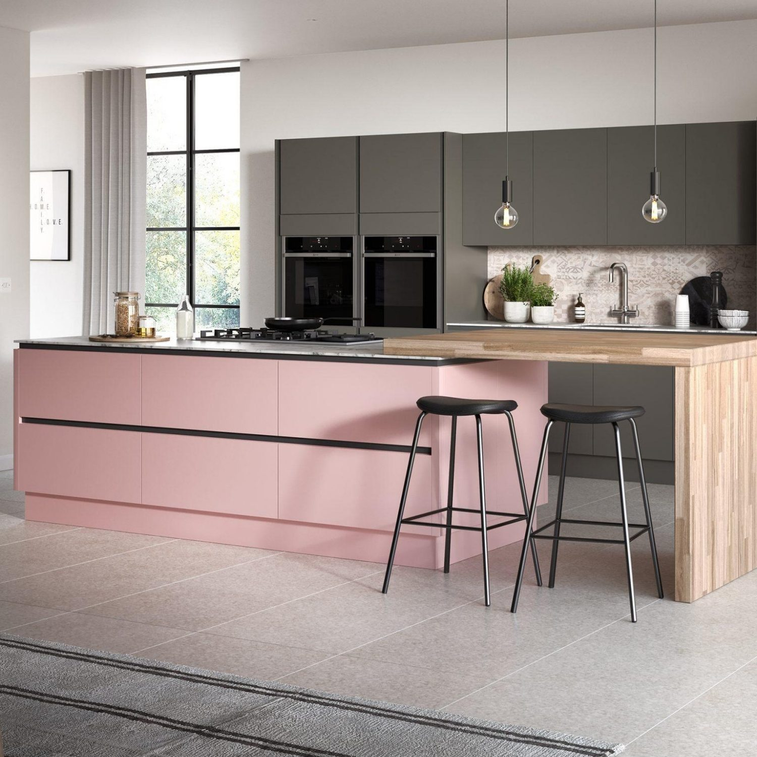 pink kitchen in surrey